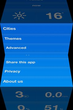 Weathercube | iPhone | Pinch open vertically to access settings