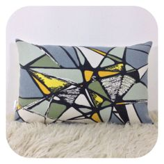 "Cushion Cover Vintage David Whitehead Abstract Fabric 12"" x 18"" Mid Century"