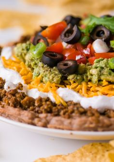 Vegan seven-layer Mexican dip : No one will guess it's vegan!  Source:  www.namelymarly.com