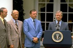 President Jimmy Carter is shown at the White House with the Apollo 11 crew in July of left to right: Buzz Aldrin, Michael Collins, and Neil Armstrong. Astronauts In Space, Nasa Astronauts, Apollo 11 Crew, Space Hero, Apollo Space Program, Michael Collins, Buzz Aldrin, Jimmy Carter, Neil Armstrong