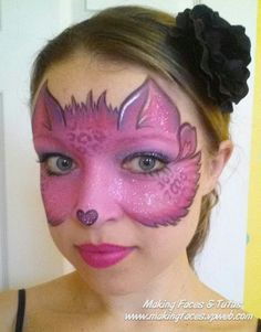 One Stroke Kitty Face Painting by Cameron Garrett
