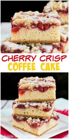 Cherry Crisp Coffee Cake - Cherry pie filling and oatmeal crisp makes this buttery coffee cake a great choice for breakfast. Make this recipe and watch it disappear! Just Desserts, Delicious Desserts, Yummy Food, Cherry Desserts, Baking Recipes, Cake Recipes, Dessert Recipes, Scones, Oatmeal Crisp