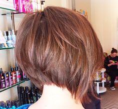 Short A line bob brunette ..lots of volume