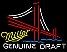 Miller Yellow Genuine Draft Golden Gate Bridge, Miller MGD Neon Beer Signs & Lights | Neon Beer Signs & Lights. Makes a great gift. High impact, eye catching, real glass tube neon sign. In stock. Ships in 5 days or less. Brand New Indoor Neon Sign. Neon Tube thickness is 9MM. All Neon Signs have 1 year warranty and 0% breakage guarantee.