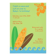 Shop Catch a Wave Birthday or Baby Shower Invitation created by hapagirldesigns. Personalize it with photos & text or purchase as is! Hawaiian Birthday, Baby 1st Birthday, 1st Birthday Parties, Birthday Ideas, 1st Birthday Party Invitations, Baby Shower Invitations, Printable Invitations, Zazzle Invitations, Invites