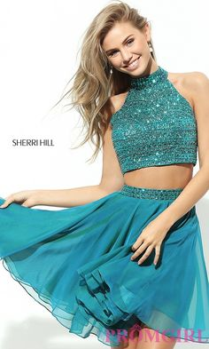Sherri Hill two-piece party dress with beaded top. Detail Image 1