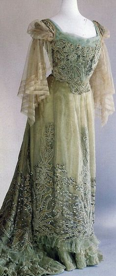 A dress for Dash to wear in ECHOES OF THE STORM or BRIDES OF THE STORM, Galveston Hurricane Mystery novels, book 1 and 2. 1900 Worth evening gown.