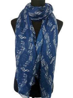 Navy Music Notes Scale Treble Clef Print Scarf Shawl by DouScarf, $12.00