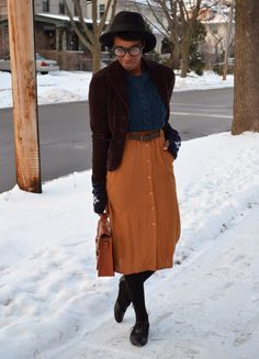 cinnamon skirt and teal sweater
