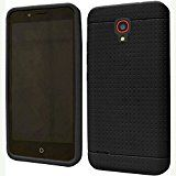 Alcatel OneTouch Conquest 7046T ( Boost Mobile / Sprint ) Phone Case Accessory Charming Black Soft Silicone Rubber Skin Cover with Free Gift Aplus Pouch