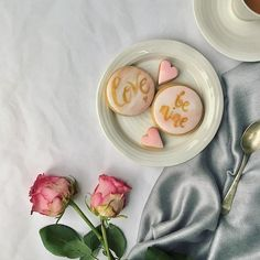 Food-styled romantic Valentine's biscuits: hand-painted and brushed with pink lustre dust for a little shimmer
