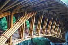 Bamboo bridge in China designed by Simon Velez for Crosswaters Ecolodge.