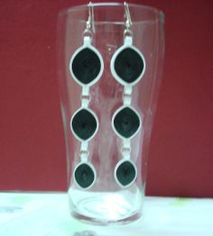 Black and white long hanging earrings Hanging Earrings, Wind Chimes, Black And White, Outdoor Decor, Home Decor, Black White, Homemade Home Decor, Blanco Y Negro, Decoration Home