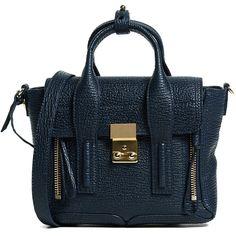 3.1 Phillip Lim Pashli Mini Satchel (39.805 RUB) ❤ liked on Polyvore featuring bags, handbags, ink, satchel handbags, leather satchel, genuine leather purse, mini satchel handbags and leather flap handbags