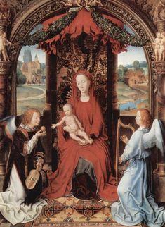 """HARP AND FIDDLE    """"Madonna and Child Enthroned with Two Angels""""(1480).  Hans Memling (Seligenstadt, Alemania 1430 - Brujas 1494) fue un pintor flamenco, cuyo arte ilustró Brujas (Bélgica) en el período de su declive político y comercial. Es un pintor gótico del siglo XV, perteneciente al grupo que trabajó en el último tercio del siglo XV y principios del XVI."""