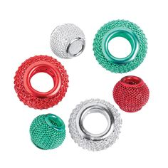 Red,+Green+&+Silver+Mesh+Beads+-+10mm+-+OrientalTrading.com