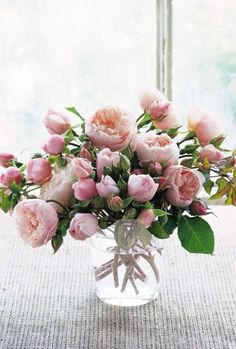 Prometheus: Lush and fragrant garden roses in a simple informal arrangement.