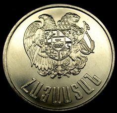 1994 ARMENIA 10 DRAM Coin Uncirculated Gem RARE WAR ERA One Year Only Coin!