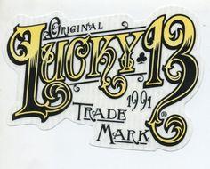lucky 13 sticker original trademark logo big hot rod motorcycle chopper