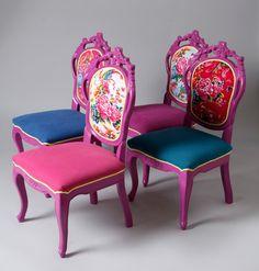4 sillas de comedor artesanales peonía China por namedesignstudio