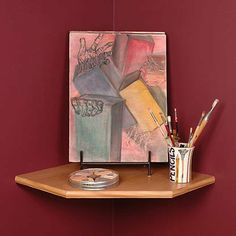 """Creative Connectors 22 Maple Corner Shelf by Creative Connectors. $61.99. 22"""", Maple Corner Shelf, Elegant, 1"""" Thick, Features Durable, Melamine Finish & Elegantly Profiled Edges, Supports 100 LLB Or A 20"""" TV, Without Brackets Or Studs."""
