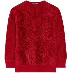 Alexander McQueen Chenille-jacquard sweater (£310) ❤ liked on Polyvore featuring tops, sweaters, shirts, jumpers, red, knitwear, heavy knit, heavy sweaters, jacquard shirt and red top