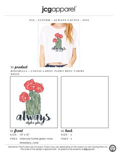 JCG Apparel : Custom Printed Apparel : Alpha Phi Always T-Shirt #alphaphi #always #cactus #bidday #recruitment #stuck #stucktogether #handdrawn