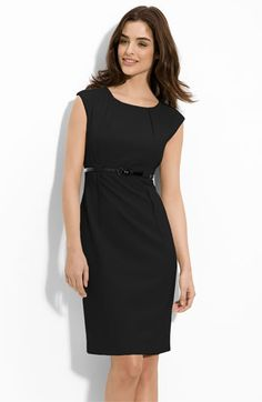 I have this dress...I loveeee it! the lines are flattering and the belt shows your waist...classy neckline and a capsleeve.  It's perfect for weddings, dinner dates, parties and more...The perfect LBD!