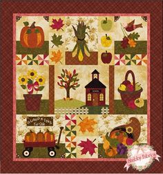 """Blessings of Autumn - 2nd Harvest: This cheerful 58"""" x 62"""" quilt celebrates the richness of autumn with pumpkins galore, sunflowers, a cornucopia and so much more!"""