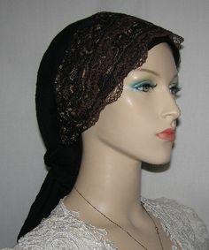 Black Tichel with Black/Gold & Brown Lace Sari Style Headband Accessory. $28.99