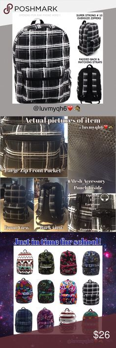 """Black, White and Gray Plaid Back Pack For All Ages Back packs designed in popular prints and multi-color designs. Great styles for both boys and girls perfect for all ages! Measures 17"""" x 12"""" x 6"""" with a large main compartment & front pocket. Maximum storage of books, folders, & more. Made of 300HD polyester, has a padded back, padded adjustable matching adjustable back straps. Durable 10X zippers. On top of the bag is an opening for earphones and the mesh covered handle also adds comfort…"""