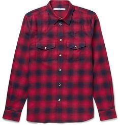 Givenchy | Slim-Fit Checked Cotton-Flannel Western Shirt (Red, Navy)