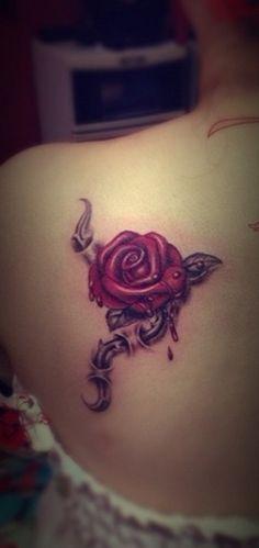 Bleeding Rose Tattoo for Girls on Shoulder | Tattoos for Women