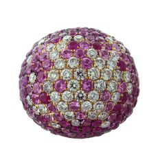 Pink Sapphire Diamond Gold Dome Ring   1stdibs.com