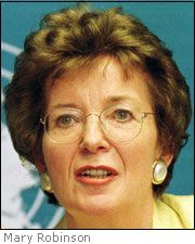 Mary Robinson served as the seventh, and first female, President of Ireland from 1990 to 1997, and the United Nations High Commissioner for Human Rights, from 1997 to 2002.