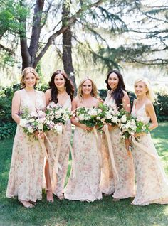 Long Pale Pink Floral Bridesmaid Dresses | Weddings Illustrated, Jessica Burke Photography