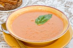 Homemade Cream of Tomato and basil soup from fresh tomatoes. This soup is amazing!