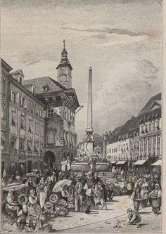 Illustration Gemüsemarkt in Laibach My Heritage, Slovenia, Austria, Birth, Louvre, Building, Places, Illustration, Lugares