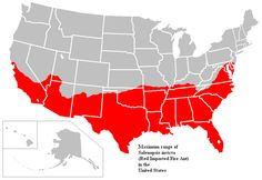 Fire Ant Range Map -- Slightly enlarged map; this one includes UT, KS, and MO. Because southern Illinois' border is cut off by the Mississippi and Ohio Rivers, fire ants may or may not have populations established in that state, although bridges, boats, leaves, and anything else ants can latch onto that fly away with winds could easily breach river barriers.
