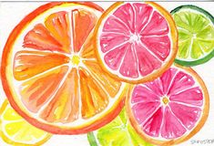 Art for Kitchen, watercolor food art, Lemon, Orange, Lime slices on Watercolor Painting, Original Fruit art, 4 X 6 An original watercolor on watercolor paper by Sharon Foster -ME! A Mississippi artist 4 x 6 inches watercolor on watercolor paper. ~ This is an original -not a