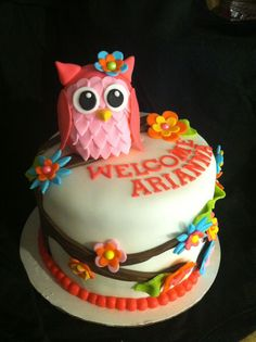 Arianna's Owl Cake - Strawberry cake/buttercream icing. Owl is RKT covered in fondant. Flowers are fondant also.