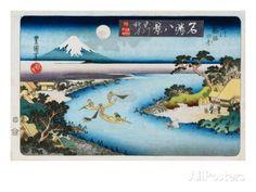 Lune d'automne, Tama River - Série Huit vues d'endroits célèbres Impression giclée