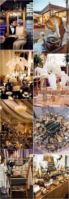 Gatsby wedding ideas has absolutely become one of the hottest wedding themes right after the successful film The Great Gatsby starring Leonardo Dicaprio. Set in the roaring twenties, the Gatsby style is nothing but all about glamour and sparks. Gatsby Wedding Decorations, Great Gatsby Themed Wedding, Roaring 20s Wedding, Gatsby Themed Party, Wedding Themes, Wedding Ideas, Themed Weddings, Themed Parties, 1920s Wedding Decor