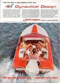 1959 Vintage Ad Johnson Sea-Horse Outboard Motor Aristo Craft Boat