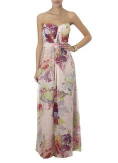 Ted Baker Strapless maxi jurk van zijde met bloemenprint