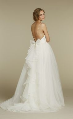 1201 by Jim Hjelm Blush // V-Neck Sheath gown with lace and illusion over-skirt.