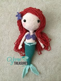Amigurumi Ariel Doll - Hair Tutorial here: http://www.yarntreasures.com/ariel-doll-hair-tutorial/