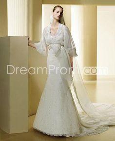 Transparent Long Sleeves Wedding Dresses Chapel Train Veil