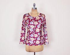 #Vintage #Burgundy #Floral #Top Floral #Shirt Floral #Blouse Floral Print Top #Rose Print Shirt Crush #Velvet Top Velvet Shirt #90s Top 90s #Grunge Top S M #CrushedVelvet #Etsy #EtsyVintage #TrashyVintage @Etsy $28.00