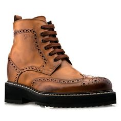5 Inch Boots - Upper in burnished cognac full grain leather, cotton waxed shoe laces, insole and midsole in genuine leather. Hand Made in Italy. elevator shoes, height increasing shoes, tall shoes